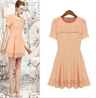 National Trend Ladies Elegant romantic Dress O-neck Slim Short Sleeve Sweet One-piece Cute Dress Women 2013