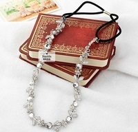 Freeshipping wholesale fashion alloy leaves flower gems elastic headband hairband hair accessory 12pc/lot