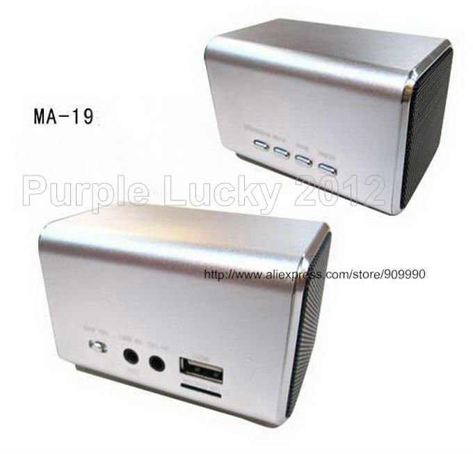 10PCS Topsale Mini Speaker MP3 Speaker Music Angel MA-19 USB Port Support Micro SD Card FM(China (Mainland))