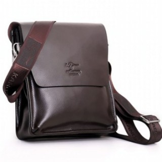 Kangaroo male package shoulder bag messenger bag first layer of cowhide commercial bag casual flip genuine leather bag