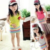 2013 free Children's clothing  child love female child summer design long tank  princess   dress