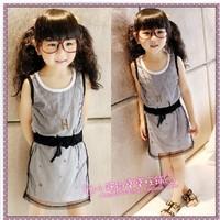2013 free Female child gauze slim waist one-piece  chain  dress