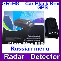 2013 Newest Russian Voice GR-H8+ Car radar detector with GPS 2.0 inch HD 720P DVR Russian menu G-sensor Free Shipping