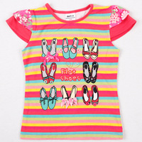Free shipping NEW design summer clothing, kids cotton striped t shirt with printed shoes, flowers on the back, MOQ:5pcs