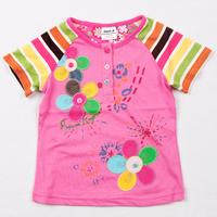 Free shipping 5pcs/lot gilr NWT stripe short sleeve flowers appliqued placket t shirt