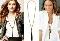 Jewelry wholesale free-shipping beaded tassel women's design long necklace