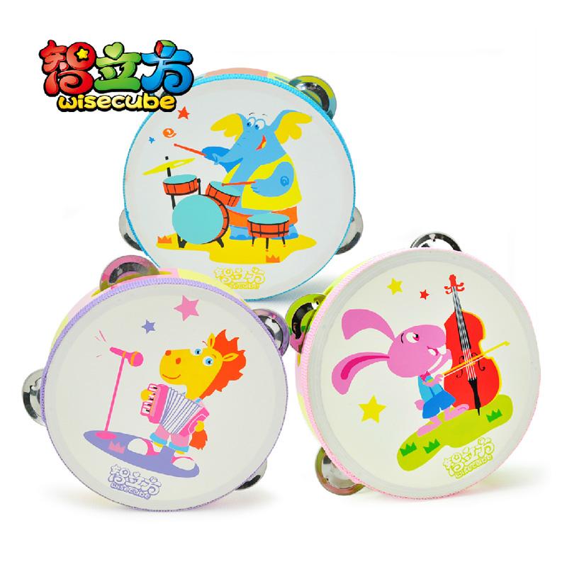 Tambourine child musical instrument wooden tambourine baby toy rattles, 3 0.136(China (Mainland))