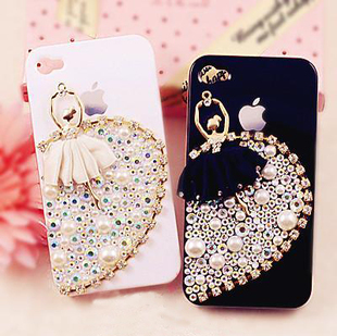 Free shipping! 6sets/lot dancing girl Cell Phone Beauty set cute flat back resin cabochons (no glue and no phone case)(China (Mainland))
