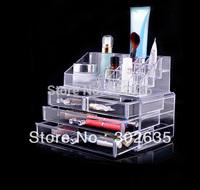 Free Shipping 12pcs/lot New Fashion Clear Acrylic Cosmetic Box Jewellery Makeup Organizer Case Gift
