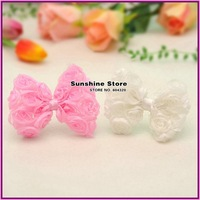 Sunshine store #2B2103 24pcs/lot white color 4.5'' baby hair bow flower 4.5 inch Chiffon Rosette bows without clip/headband CPAM