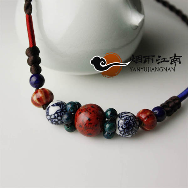 Short design necklace national trend decoration handmade vintage blue and white porcelain accessories female chain(China (Mainland))
