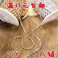 Luxury rhinestone gold silver diamond claw chain iphone4 chain phone case rhinestone pasted diy material dog chain