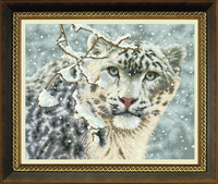 free shipping DMC Cross stitch kit wallmap animal series dh-dw-0067 Snow leopard