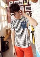 Summer men's clothing slim fashion personalized short-sleeve T-shirt 100% cotton stripe t shirt male basic