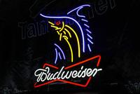 Budweiser beer big swordfish banner fish neon signs led lights 50*40cm