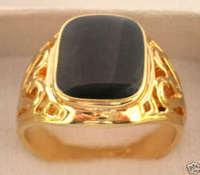 Black Onyx gold tone Men's titanium steel Ring 7# -9# / Free Shiping