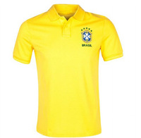 Ems free shipping new Brazil training polo with Brand Logos,2013-14 Brazil yellow soccer polo ,Thai quality, Mixed order