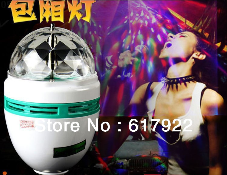 New E27 3W Colorful Rotating RGB 3 LED Spot Light Bulb Lamp stage decoration light(China (Mainland))