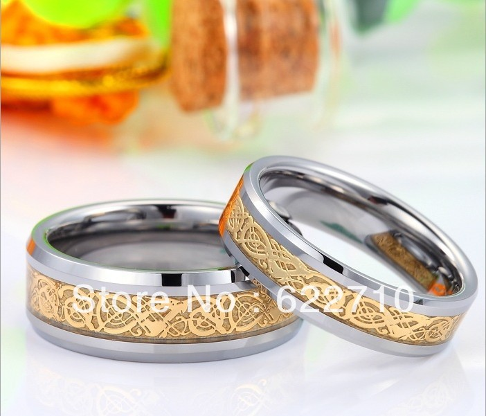 2013new Tungsten gold ring tungsten steel jewelry Inlaid golden dragon Various sizes(China (Mainland))