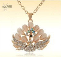 (mixed $ 10 )Free shipping 2013 new fashion peacock Phoenix crystal necklace Long sweater chain necklace clothes ornaments