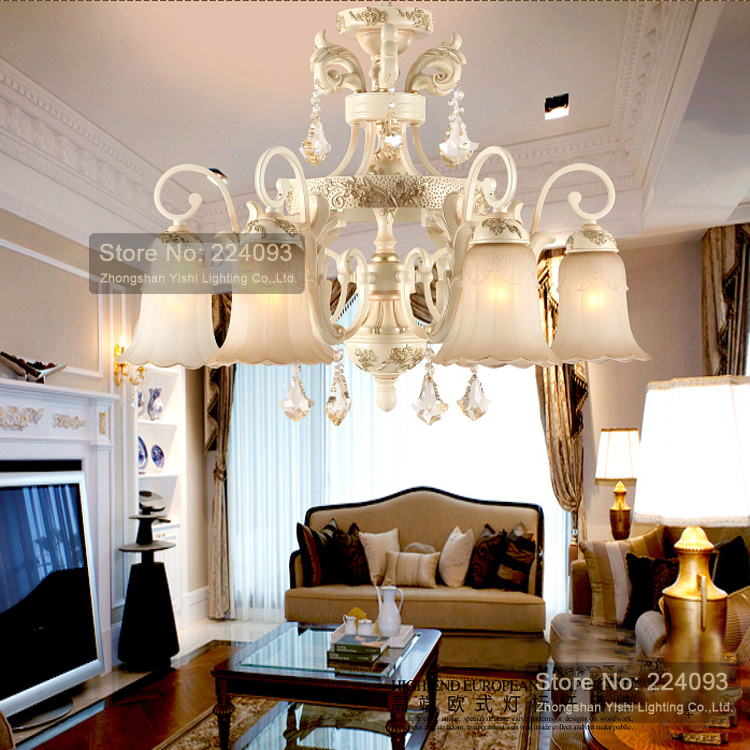 Free shipping! European style chandelier crystal lamp iron classic living room with 6 lights HOT! BS01-6B(China (Mainland))