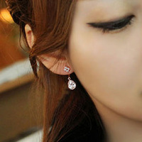 Earrings four leaf clover small fresh stud earring fashion drop crystal pendant