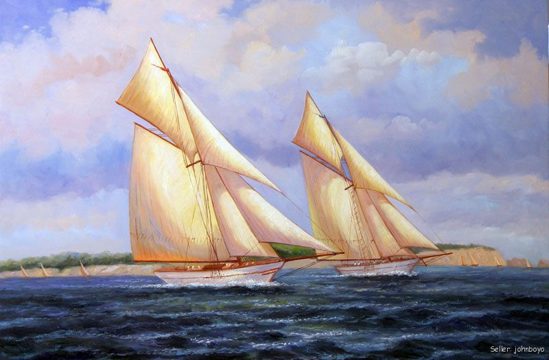 Racing Sailboats Ocean Marine Seascape 24X36 Stretched Oil On Canvas Painting(China (Mainland))