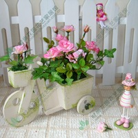 Wooden car rose set artificial flower silk flower decoration flower