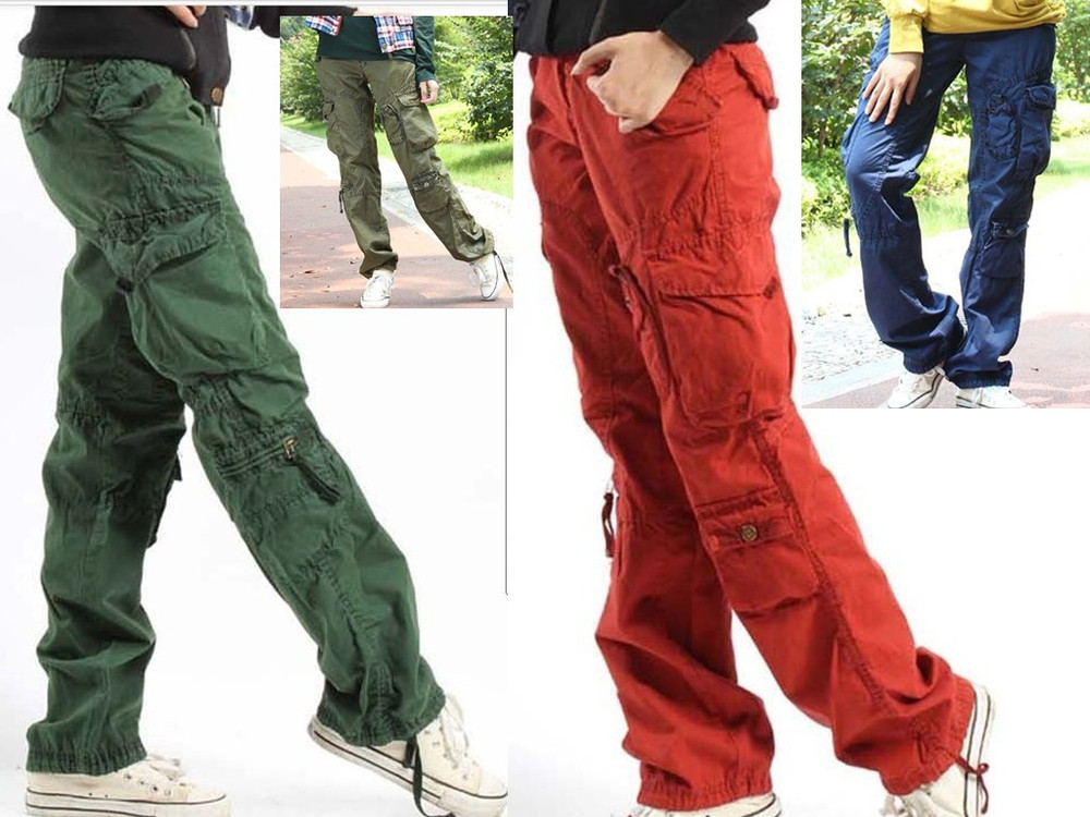 Free shipping Tooling Hip-hop Leg Pants Overalls Chinos Couple Models Cargo Pants Slacks Mens Mainline Menswear Size:27-32(China (Mainland))