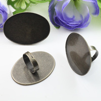 10pcs brass/copper ring blanks with 30*40mm Oval Cameo Pad Lace Tray Antique Bronze Ring base setting,DIY Zakka jewelry Finding