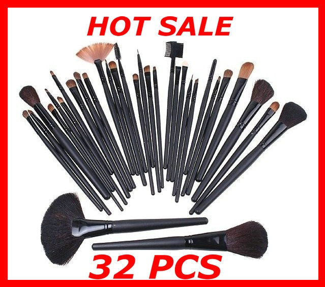 Free drop Shipping 32 Pcs Professional Makeup Cosmetic Brush set Kit Case + Black Leather Case,big discount!!(China (Mainland))