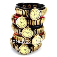 wholesale 200pcs/lot 2013 newest Vintage Bronze Lady Stud Leather Wrap Around Watch DHL freeshipping