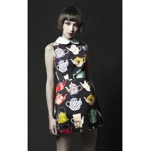2013 new fashion  doll collar girl next door the full printed teapot Figure sleeveless designer dress