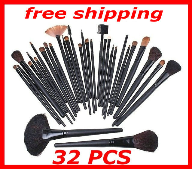Free Shipping 32pcs 32 pcs Cosmetic Facial Make up Brush Kit Makeup Brushes Tools Set Black Leather Case H4456(China (Mainland))