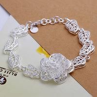 H244 Free Shipping 925 Silver Bracelet Fashion Jewelry Bracelet Big Flower Bracelet awya jofa
