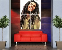 AH02 smile Bob Marley picture  vintage 46 x 32 inches  home decor  large huge giant music poster print  photo wall art