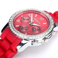 2013 Geneva Watch Unisex Double Diamond watch fashion Silicone watch sale Quartz Watches 8color 80PCS/LOT