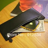 All-match fashion men's coin purse sewing medium-long wallet zipper horizontal wallet  flat wallet