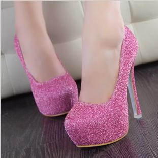 New 2014 Womens high thin heels platform closed toe High heels  shoes sliver ringtone pink purple  sliver loyal blue sole pumps