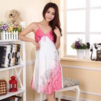 2013 Summer viscose faux silk sleepwear spaghetti strap Women sweet sexy nightgown