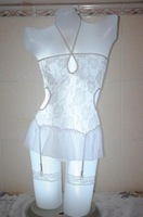 white sexy nightgown transparent tight clairvoyant outfit spaghetti strap socks sexy sleepwear nightgown set freeshipping
