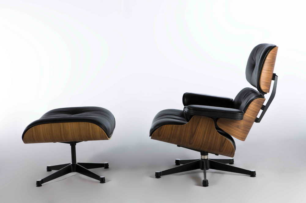 Eames Lounge Chair Black Aniline Leather/Alu Base/HM Version/ Walnut / Top Quality True to Original(China (Mainland))