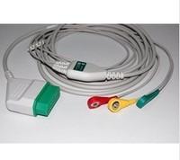3pcs/lot free shipping Nihon Kohden one-piece 3-lead ECG cable, TPU, AHA/ IEC, Snap/ Clip