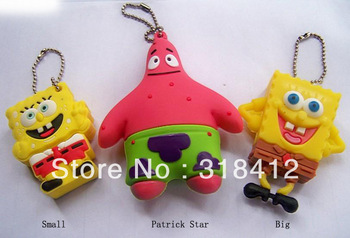 Free Shipping Cute Cartoon Sponge Bob Model usb 2.0 flash Memory Stick Pen Thumb Drive Silicone USB 2GB 4GB 8GB 16GB 32GB Disk