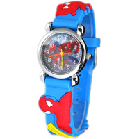Free & Drop Shipping! Blue Spiderman 3D Cartoon Watch Children Kids Girls Boys Students Quartz Wrist Watches Clock.