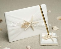 Free Shipping Ivory Sea Star Wedding Guest Book & Pen Holder Set Wedding Favor SWD44