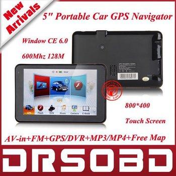 "5"" Portable Car GPS Navigator Window CE 6.0 600MHz 128M Av-in+FM+GPS/DVR+MP3/MP4+Free Map+TFT Colour Touch Screen (800*480)"