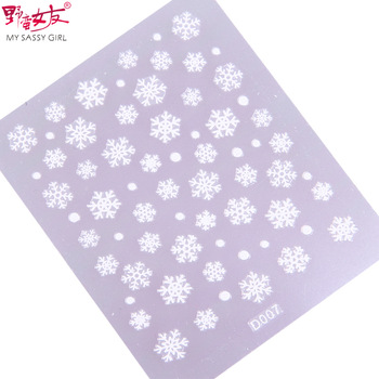 Sassy girl finger nail art applique 3d three-dimensional christmas stickers white decoration supplies