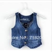 new arrival 2013 baby boys denim vest boys jean vest with pocket girls jean vest children waistcoats 2T-8T free shipping