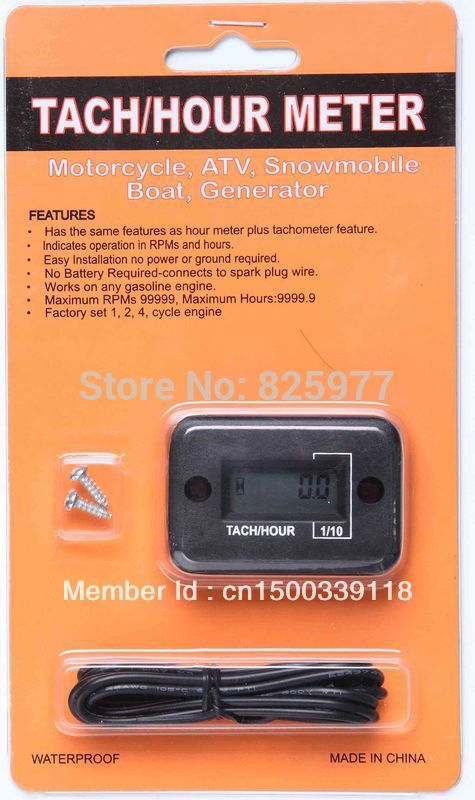 Motorcycle and Snowmobil LCD Waterproof Inductive Tach / Hour Meter(China (Mainland))